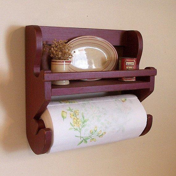 Farmhouse Primitive Paper Towel Spice Rack / Original by Sawdusty, $40.00