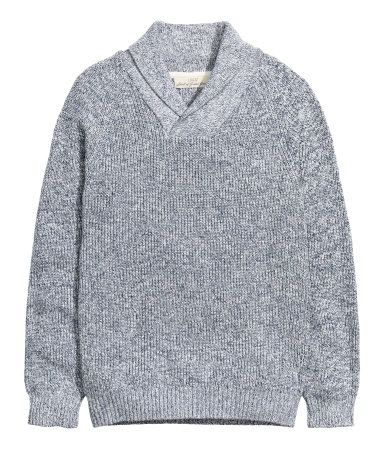 Rib-knit sweater in melange cotton with a shawl collar and long raglan sleeves. Shop for the men on your list at H&M.