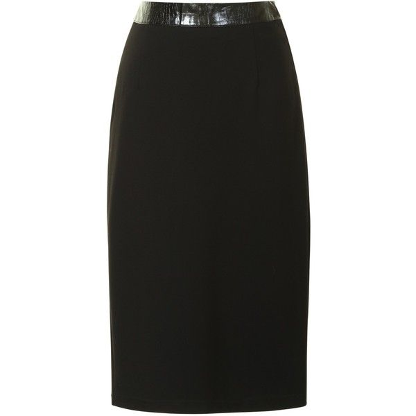 True Decadence Pencil Skirt, Black ($19) ❤ liked on Polyvore featuring skirts, pencil skirt, faux-leather skirts, midi pencil skirt, true decadence and mid calf skirts