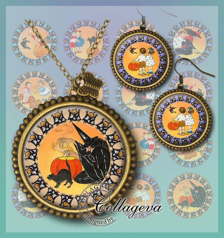 Follow the Witch Digital Collage Sheet 20 18 16 14 12 mm circles Retro Halloween images for earrings rings, Orange Pumpkin Black cat (EC04-c by collageva on Etsy