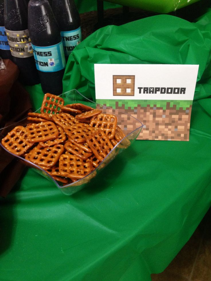 Minecraft party..using pretzels for trapdoor... link to the labels down below. =)