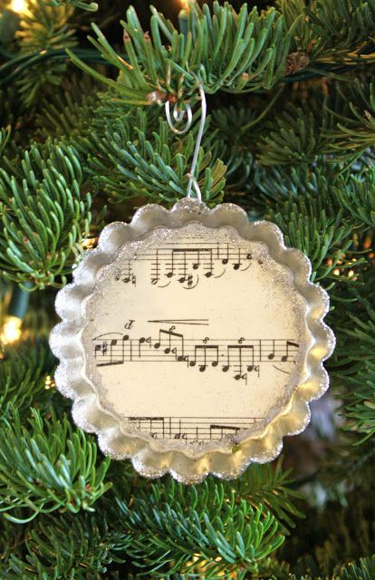 Welcome back to Ornament day!!! Earlier today I showed you my Sheet Music Ball Ornaments and now it's time for ornament #2, my VintageTin Mold Music Ornaments. A few months ago I posted abou…