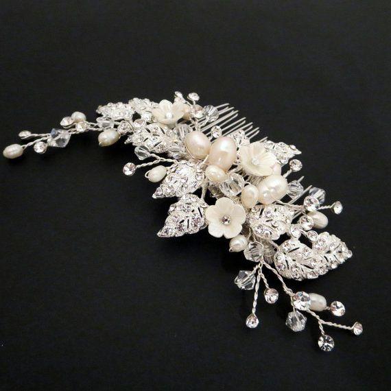 Wedding headpiece, Bridal hair comb, Rhinestone flower hair comb, Wedding hair comb, Freshwater pearl on Etsy, $83.68 CAD