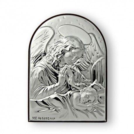 Anioł Stróż bardzo duży obrazek ze srebra