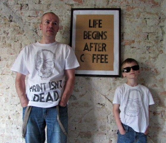 Life begins after coffee. Original letterpress print. Szili letterpress