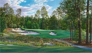 "Linda Hartough Limted Edition 2014 U.S. Open Championship Print :""9th Hole, Pinehurst No. 2, Pinehurst Resort and Country Club"""