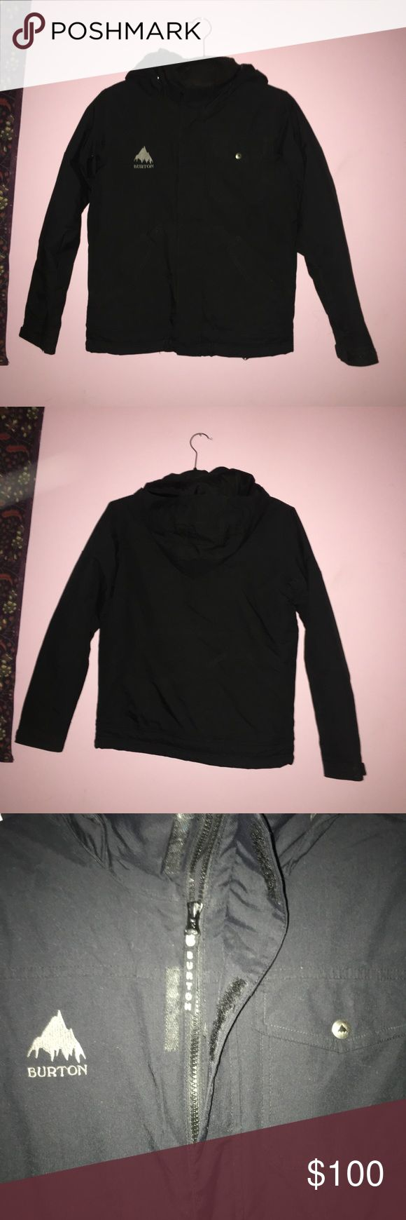 Black Burton Ski Jacket Black Boys ski jacket, (the jacket is technically a boys, but I occasionally wore it and i'm female) Many zippers and extra pockets, hood (removable) Burton Jackets & Coats Puffers