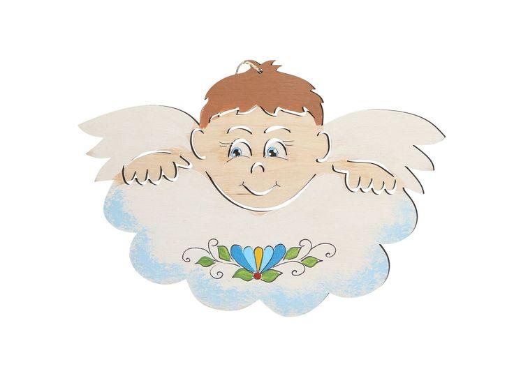 Aniołek kaszubski na chmurce (malowany na drewnie - błękitny) CZEC Książki i upominki z Kaszub i Pomorza