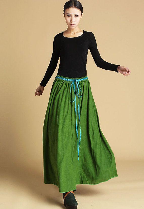 Lime green linen skirt - long maxi skirt with turquoise drawstring waist - boho style skirt - handmade skirt - plus size available  (464)