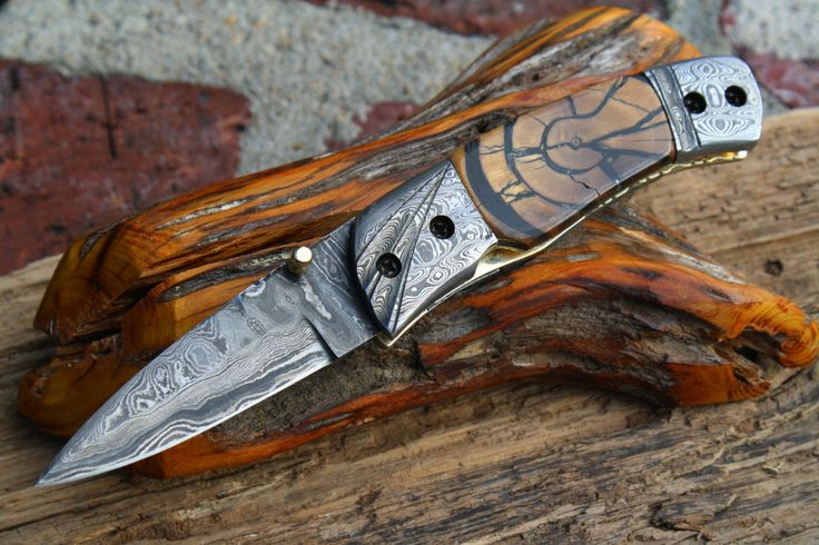 Damascus folder with cross section mammoth tusk ivory fossil