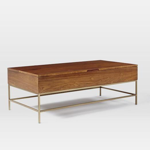 Storage Coffee Table Walnut Antique Brass West Elm Home Goods Pinterest Storage