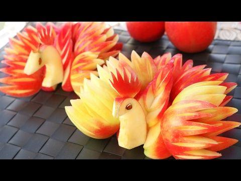 Art In Apple Peacocks   Fruit Carving Garnish   Apple Art   Party Garnis...