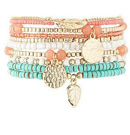 Stackable Beaded Stretch Bracelets - 10 Pack