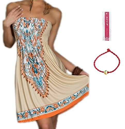 ACVIP Womens Sexy Bohemian Beach Dresses Khaki M *** You can find out more details at the link of the image-affiliate link. #SexyBohemian Look