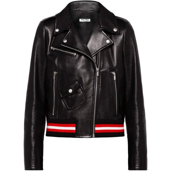 Miu Miu JACKET (11,080 ILS) ❤ liked on Polyvore featuring outerwear, jackets, slim fit jackets, real leather jackets, long leather jacket, leather jackets and embellished leather jacket