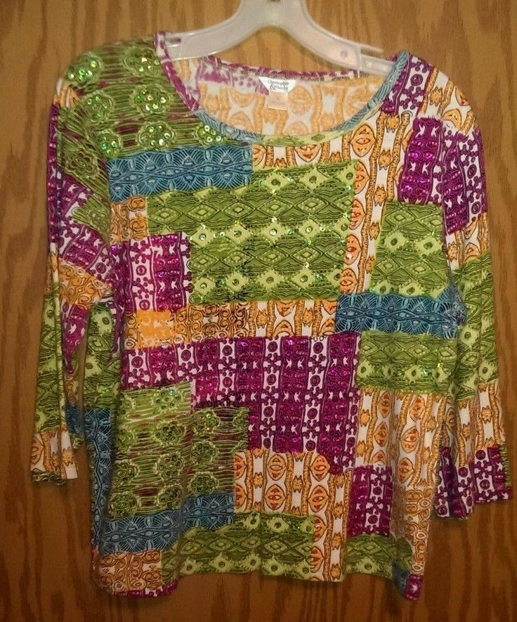Christopher & Banks Bright Multicolor Sequin 3/4 Sleeve Tribal Shirt~Size XL | Clothing, Shoes & Accessories, Women's Clothing, Tops & Blouses | eBay!