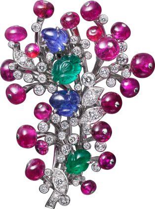 High Jewelry brooch Platinum, sapphires, emeralds, rubies, diamonds