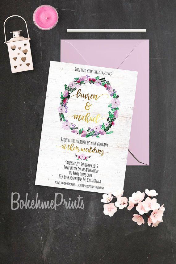 confetti daydreams wedding invitations%0A Bohemian Wedding Invitation Boho Rustic Wedding by BohemePrints  bohemian   wedding  weddingstationary  bride