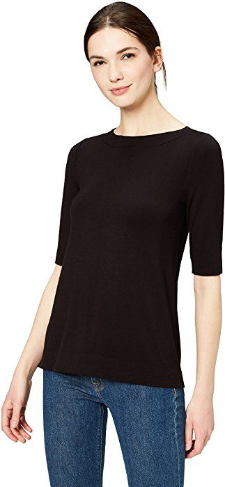 1f4acab18b Amazon.com  Daily Ritual Women s Rib Knit Jersey Elbow-Sleeve Boat Neck  Shirt
