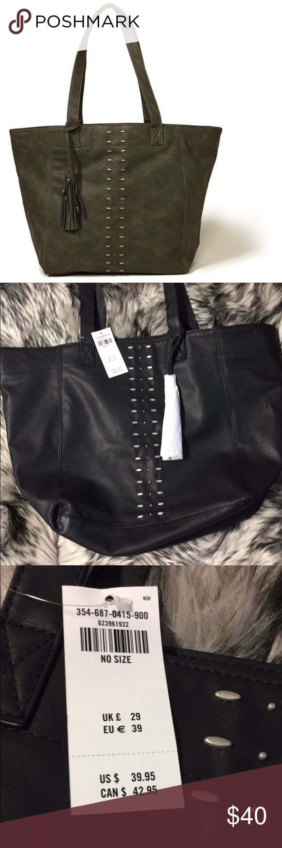 Vegan studded hollister tote This is so cute and stylish! It can be edgy or sweet, dressed up or dressed down. It's brand new with tags and sold out! Hollister Bags Totes