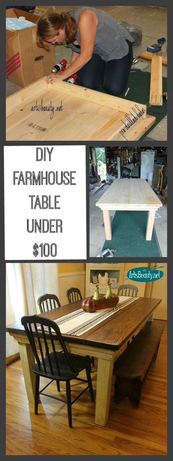 ART IS BEAUTY: How to build your own FarmHouse Table for under $100. I want to make one for the deck too!