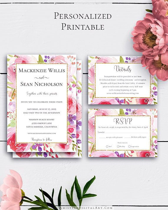 Customized Wedding Invitation Suite with whimsical and trendy watercolor florals in chic style.Build your suite - choose your card combination by Amistyle Digital Art on Etsy