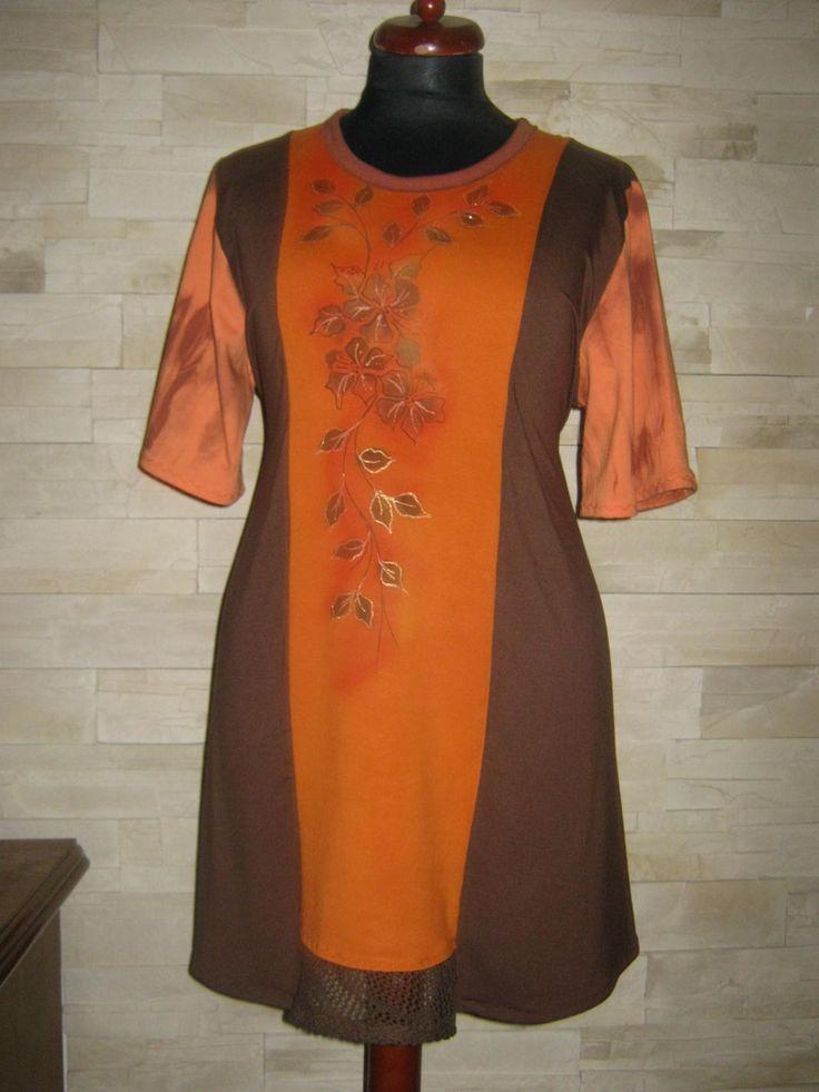 Tunika-hnědo-oranžová+-maxi+dlouhá+Tunika+je+ušitá+z+viskoza+s+elastanem.Střižená+do+A.+Rozměry+OH-125-130cm+-materiál+je+pružný+OB-až-170cm+Délka.98cm.Rukávek+3/4-má+barvu+oranžovo-hnědou+,na+fotce+nevím+proč+je+barva+jiná+:-)