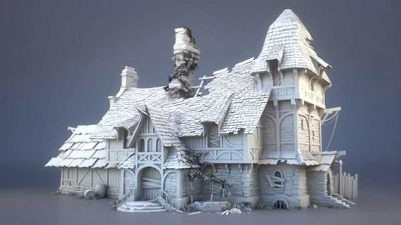 Ruined Building Model, Toby Lewin on ArtStation at https://www.artstation.com/artwork/ruined-building-model: