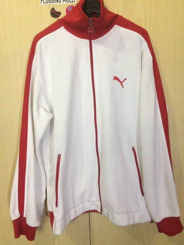 XL Vintage PUMA White Red Retro track suit tracksuit top