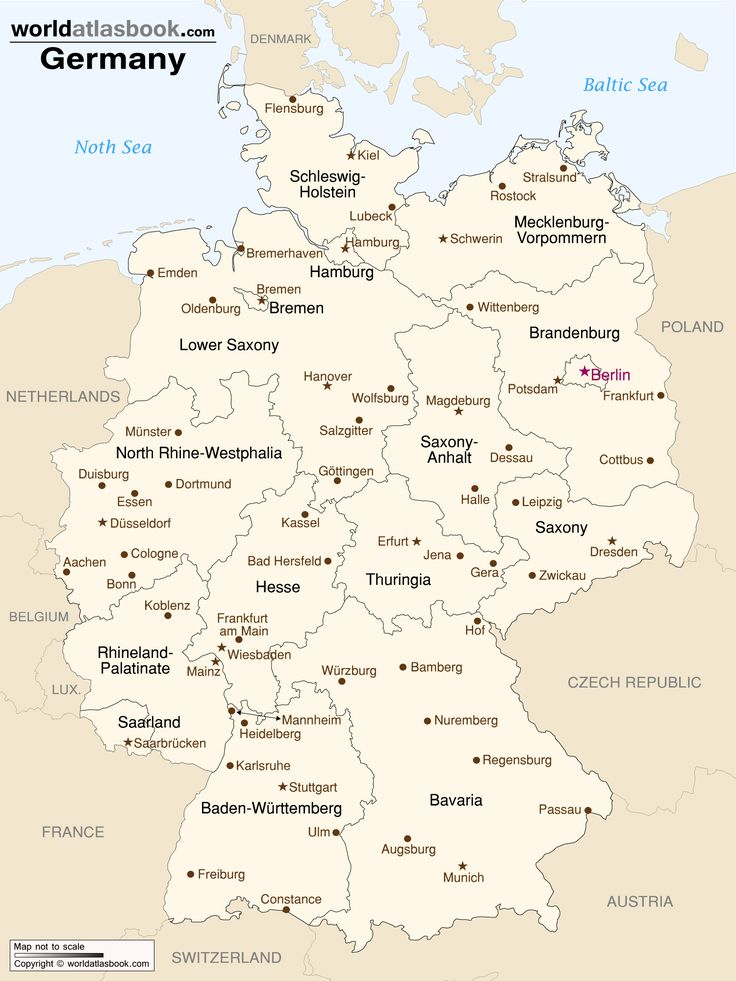 Map of Germany with States and Cities GERMANY