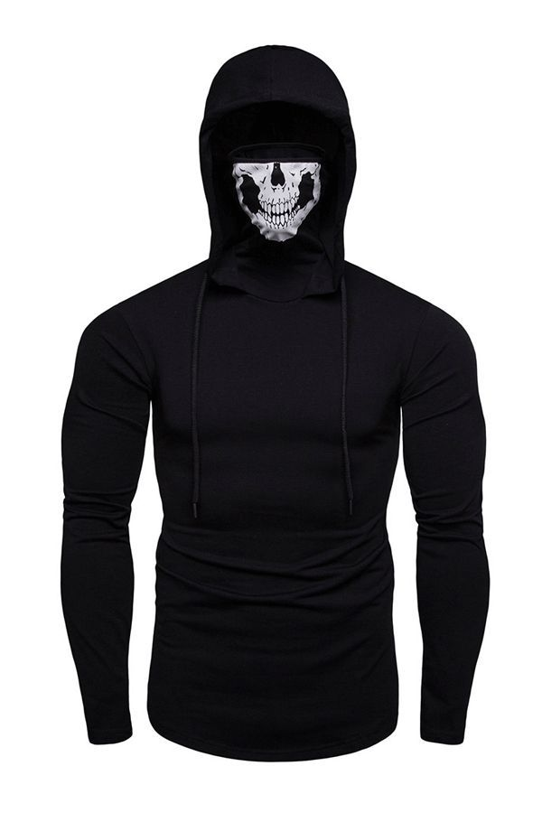 Mens Skull Mask Hoodie Sweatshirt Long Sleeve Costume Slim Fit Pullover Top Blouse