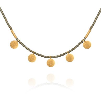 TEMPLE OF THE SUN JEWELLERY BYRON BAY - Seed Bead Necklace with Gold Disc Matt Grey, $129.00 (http://www.templeofthesun.com.au/seed-bead-necklace-with-gold-disc-matt-grey/)