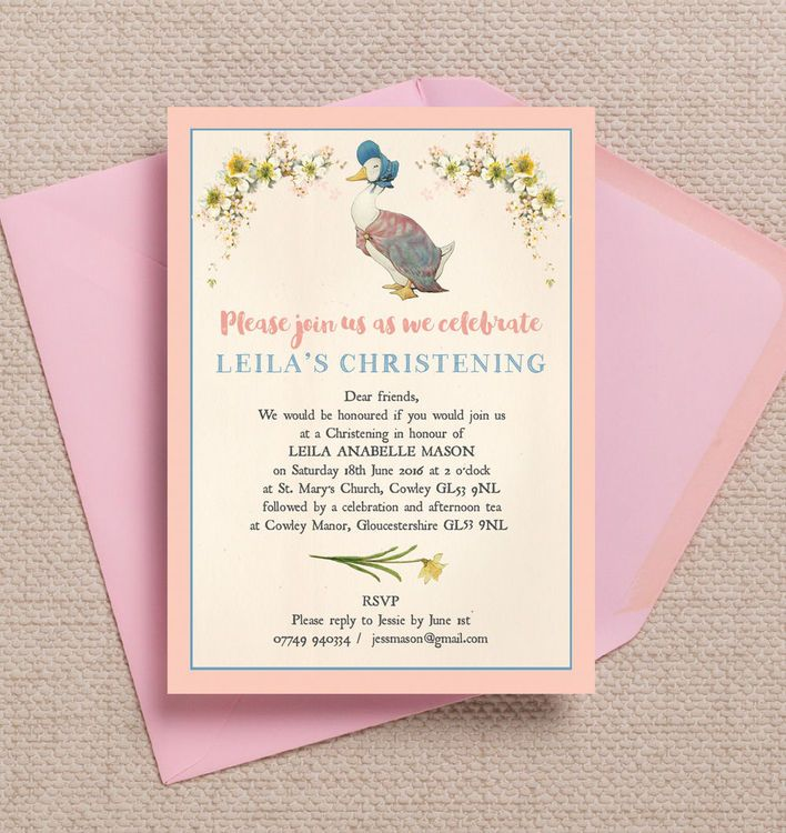 Beatrix Potter Jemima Puddle Duck Christening Baptism