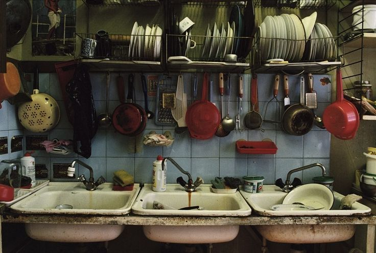Gosh, the sinks. Kitchen in a communal apartment.