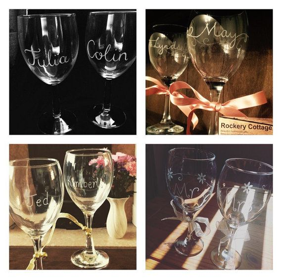 2 personalised wine glasses couple wine glasses hand engraved glasses gifts for couples personalised engraved glasses wine gifts by RockeryCottage