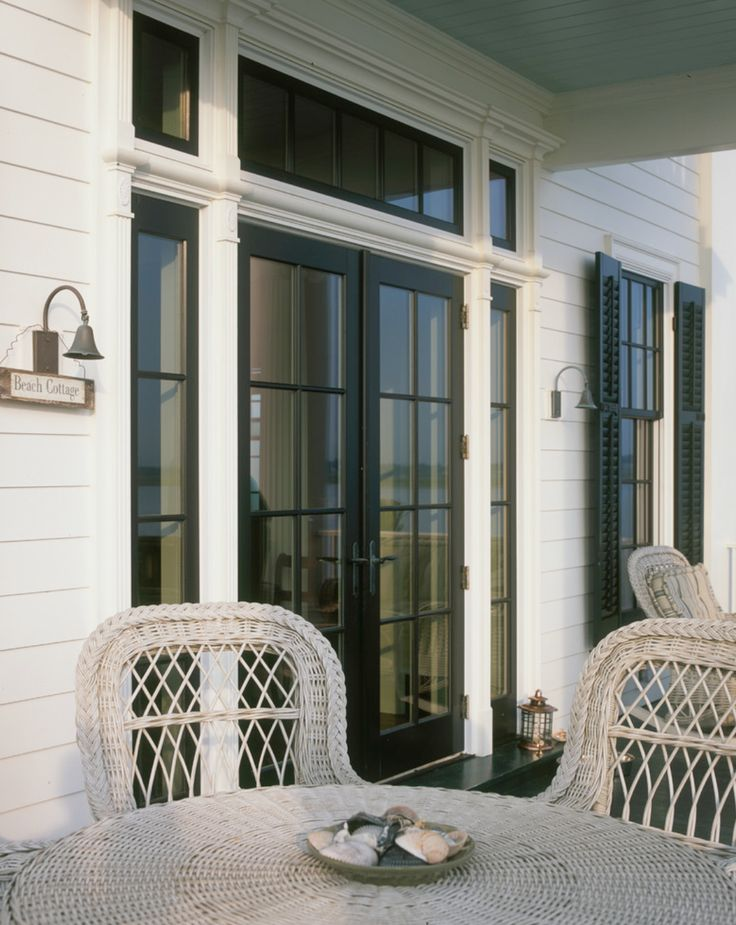 Beach house black windows home exterior pinterest for Black french doors exterior