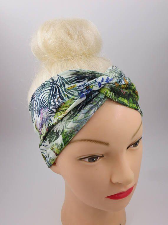 Fascia per capelli turbante stile tropicale foglie palme