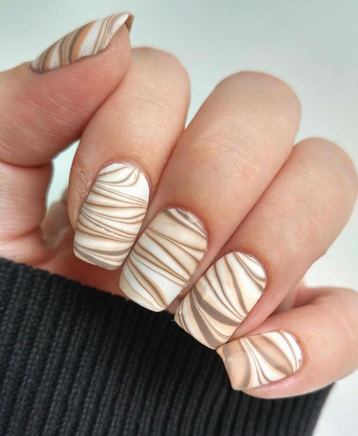 Cafe Latte Watermarble nails
