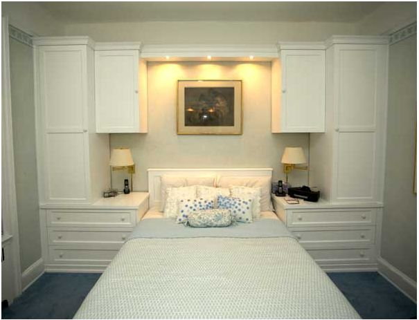 Beautiful built-ins in a small bedroom by Gothic Cabinet Craft #smallbedroom #storage #smartdesign