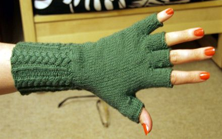 Fingerless Gloves Knitting Pattern:  http://knittingonthenet.com/patterns/mittensfingerlessgloves.htm