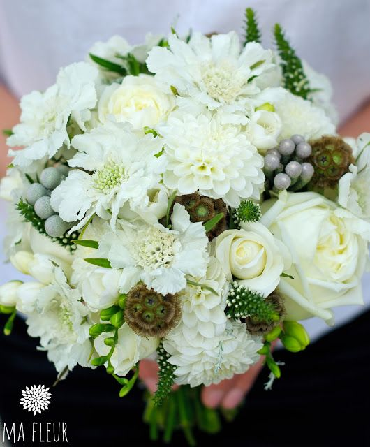 summer white wedding bouquet with Scabies, Roses, Lysimachia, Brunia and Dahlia