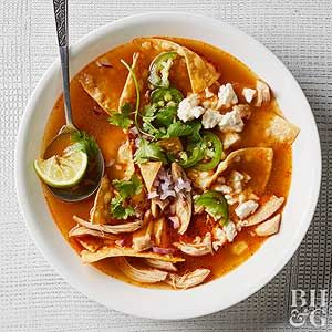 Can't find poblanos for this Mexican chicken soup recipe? Anaheim peppers pack a similar mild heat.