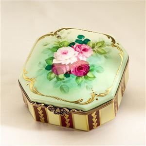 Limoges Antique Roses on Green and Cream Box The Cottage Shop
