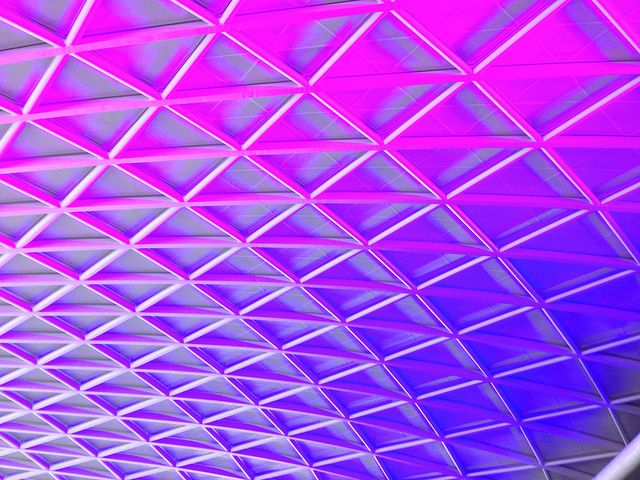 Big City, Bright Lights. Roof section at Kings Cross, London by FreakOutITGeek, via Flickr