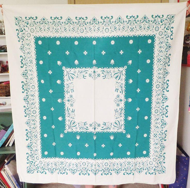 Vintage Tablecloth Vtg 1930's Folk Art Craftsman Cottage Chic Teal Green & White Tablecloth Vintage Kitchen Small Tablecloth Folk Bird Decor by BlendedSplendid on Etsy