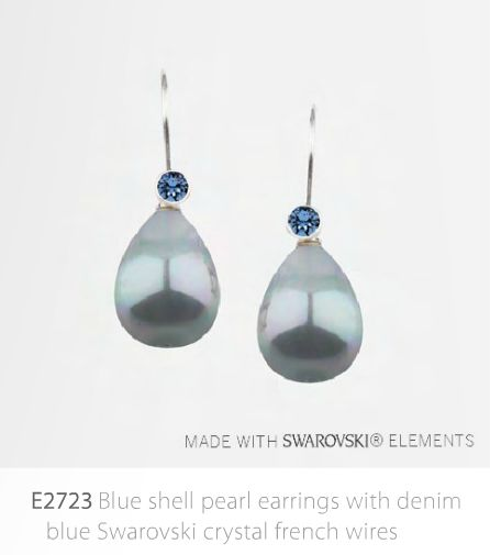 Blue Shell Pearl Earrings