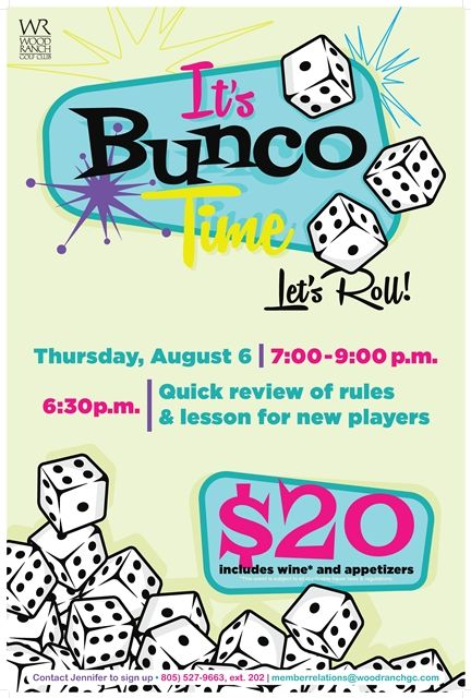 bunco night flyer poster design template