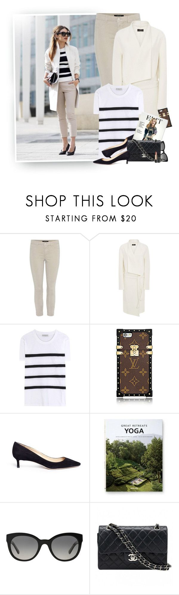 """""""Spring Clean"""" by hollowpoint-smile ❤ liked on Polyvore featuring J Brand, Joseph, Balenciaga, Jimmy Choo, Taschen, Burberry, Chanel and Estée Lauder"""