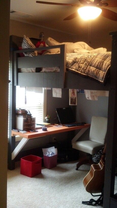 Queen loft bed with desk underneath