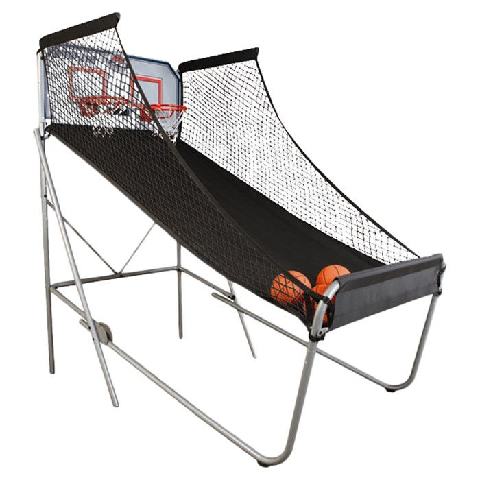 Features:  -Includes 7 rubber basketballs, pump and needle, two 5/8'' solid steel rims, heavy duty nylon canvas ball run.  -Indoor Double Shot Arcade Basketball System.  -Designed with an extra wide 4